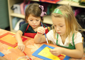 montessori children working