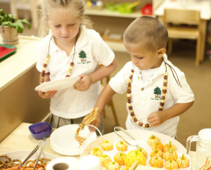 montessori children at snack time
