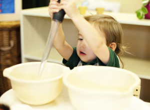 montessori child working