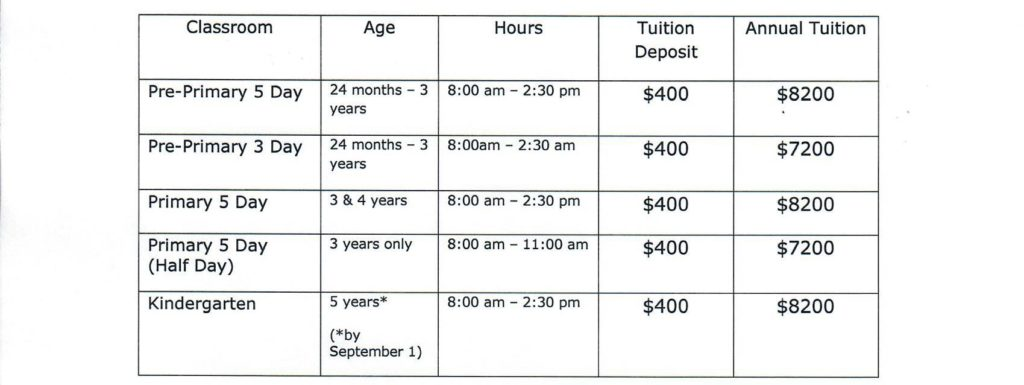 Tuition info 2018-2019